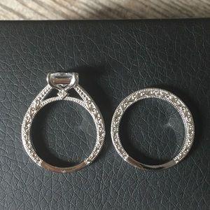 Jewelry - 💍2pcs 925 Silver Engagement Ring Wedding Band Set